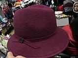 Женская фетровая шляпа с формой тулии под мужскую цвет черный, фото 2