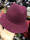 Женская фетровая шляпа с формой тулии под мужскую цвет черный, фото 3