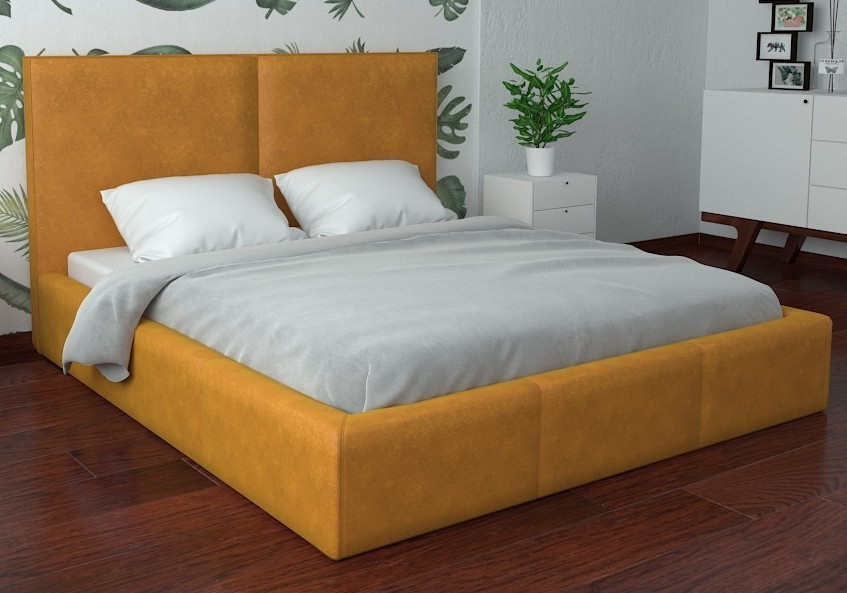 Кровать Delhi Comfort 140 х 190 см Мустанг С подъемным механизмом и нишей для белья Желтая