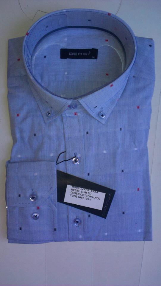 Элегантная Мужская рубашка DERGI приталенная с длинным рукавом  код 6195-1