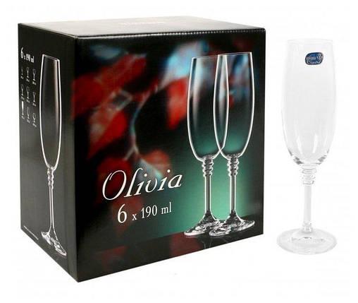 Набір келихів для шампанського 190 мл 6 шт Bohemia Olivia 40346/190, фото 2
