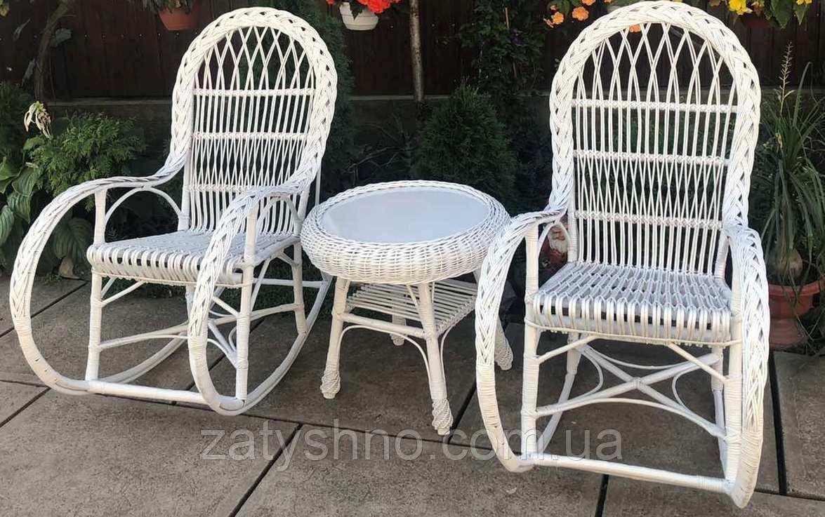Качалки из лозы белые |Мебель из лозы белая со столом журнальным |мебель плетеная на подарок