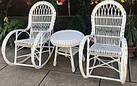 Качалки из лозы белые |Мебель из лозы белая со столом журнальным |мебель плетеная на подарок, фото 1