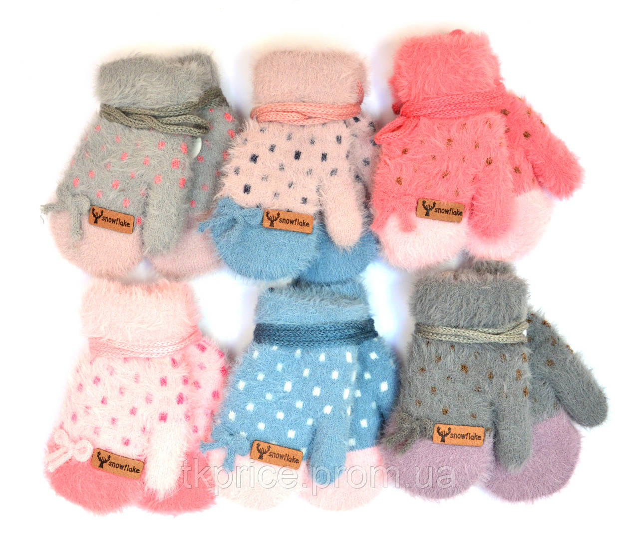 Детские ангоровые варежки для девочек на 0 - 2 года - длина 11 см