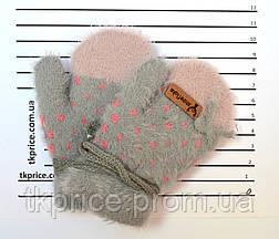Детские ангоровые варежки для девочек на 0 - 2 года - длина 11 см, фото 2