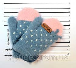 Детские ангоровые варежки для девочек на 0 - 2 года - длина 11 см, фото 3
