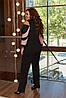 Елегантний жіночий костюм: блуза з вирізами на плечах і штани, батал великі розміри, фото 2