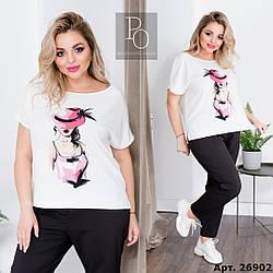 Прогулянковий жіночий костюм: блуза футболка і укорочені брюки, батал великі розміри