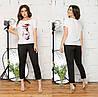 Прогулочный женский костюм: блуза футболка и укороченные брюки, батал большие размеры, фото 3