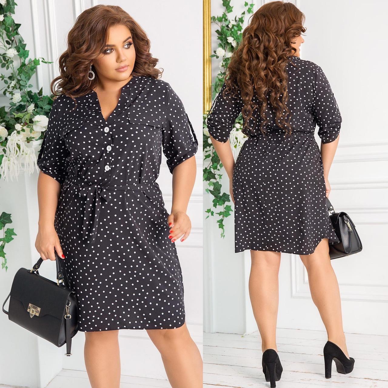 Летнее легкое платье-рубашка в горошек с поясом, батал большие размеры