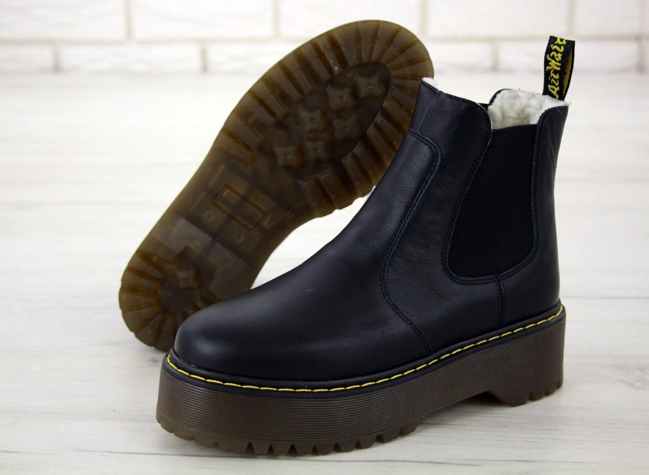 Женские зимние ботинки Dr. Martens 2976 Chelsea (Мех), др мартенс, жіночі черевики Dr Martens, ботінки мартінс