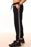 Штаны чёрные с двойным лампасом Adidas duo