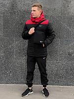 Зимний комплект Найк красно-черная + штаны утепленные. Барсетка и перчатки в подарок!