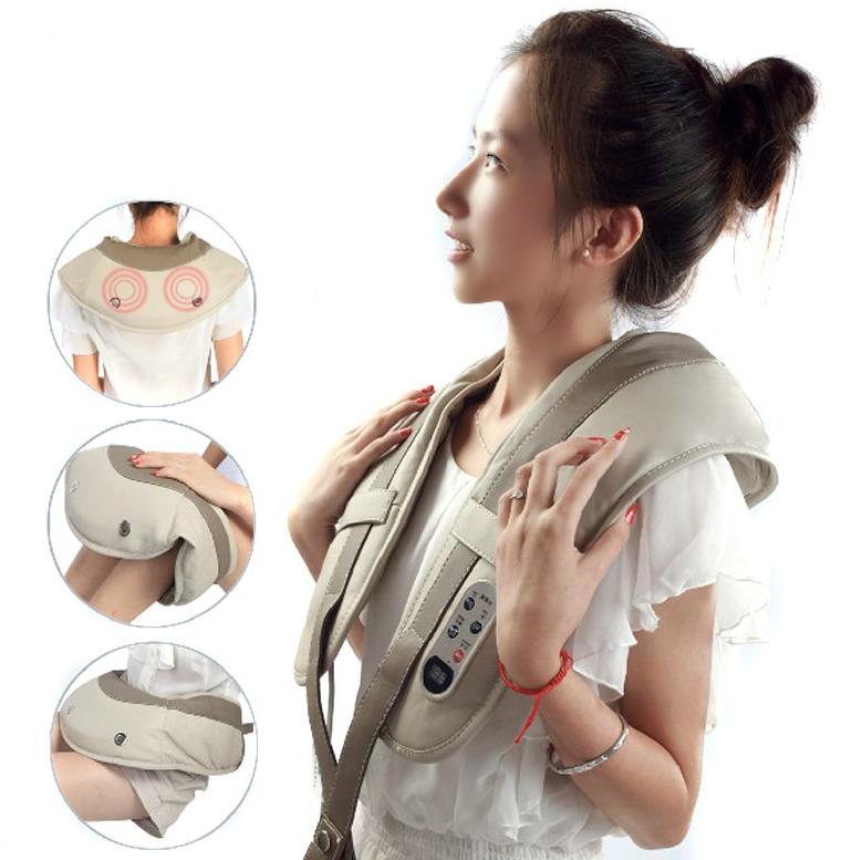 Вибро массажер для всего тела 3D Wellneo Cervical Massage Shawls здоровье. 4 в 1, шиацу, серый