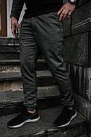 Мужские спортивные штаны трикотаж темно- серые меланж