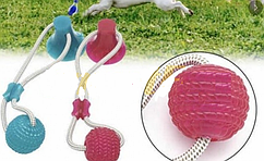 Іграшка для домашніх тварин м'яч на мотузці з присоскою SL-1126