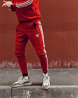 Спортивные штаны в стиле Adidas Stitch красные