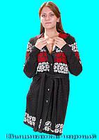 Женская стильная вязаная кофта.  Вышиванка чёрный