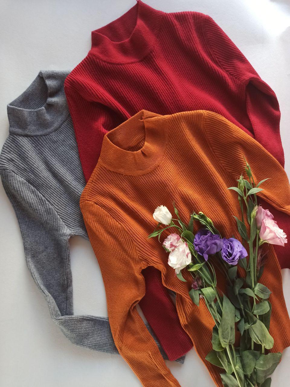 Гольф жіночий трикотаж рубчик+ангора ( сірий, коричневий, бордовий