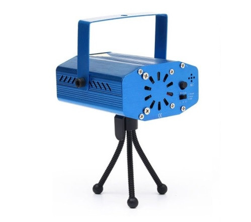 Лазерный проектор светомузыки Disco Laser party Light, дискол лазер 4 режима, синий