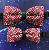 Комплект Тато син Краватка метелик з червоним українським орнаментом