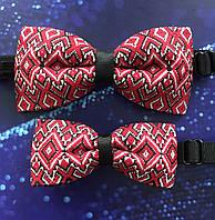 Комплект Тато син Краватка метелик з червоним українським орнаментом, фото 1