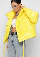 Куртка пуховик зимняя женская гиперсайз тренд 2020 объемная спортивная желтая