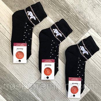 Носки женские махровый след хлопок Смалий, 23-25 размер, рисунок 01 чёрные