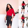 Деловое комбинированное платье с запахом на груди и с разрезом по ноге, батал большие размеры, фото 7