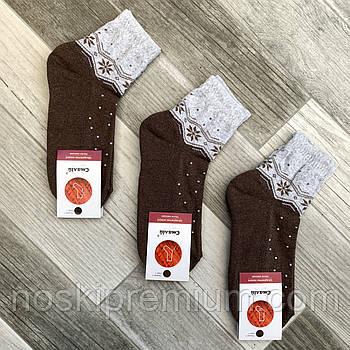 Носки женские махровый след хлопок Смалий, 23-25 размер, рисунок 02 кофейные