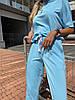 Женский стильный легкий костюм: свободная футболка и штаны кюлоты, фото 4