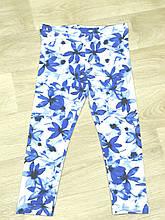 Лосины для девочки белые в синие цветы