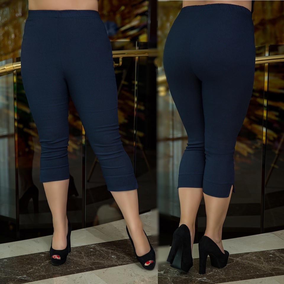 Жіночі джинсові капрі з ефектом утяжки, батал великі розміри