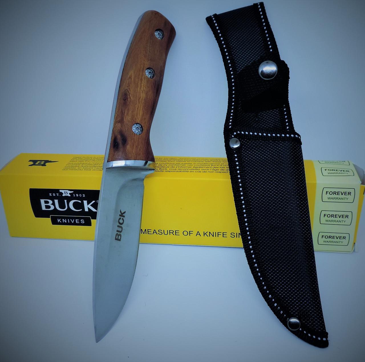 Охотничий нож с чехлом Buck, рукоятка из палисандра. Универсальные ножи для рыбалки, охоты и туризма.