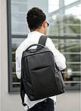 Мужской черный рюкзак классика городской, для ноутбука, матовая эко-кожа (качественный кожзам), фото 8
