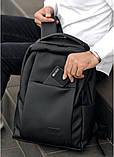 Мужской черный рюкзак классика городской, для ноутбука, матовая эко-кожа (качественный кожзам), фото 5