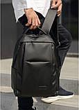 Мужской черный рюкзак классика городской, для ноутбука, матовая эко-кожа (качественный кожзам), фото 7