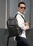 Мужской черный рюкзак классика городской, для ноутбука, матовая эко-кожа (качественный кожзам), фото 6