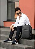 Мужской черный рюкзак классика городской, для ноутбука, матовая эко-кожа (качественный кожзам), фото 9