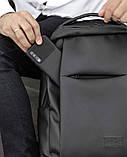 Мужской черный рюкзак классика городской, для ноутбука, матовая эко-кожа (качественный кожзам), фото 10