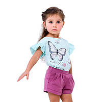 Детская футболка для девочки Летний цветок, ментол (110560, 110569, 110570), Смил 158 (13 лет) р. Мятный