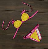 Купальник женский раздельный желтый с розовым горошек, фото 4