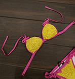 Купальник женский раздельный желтый с розовым горошек, фото 5