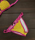 Купальник женский раздельный желтый с розовым горошек, фото 6