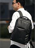 Мужской классический черный рюкзак из матовой эко-кожи повседневный, деловой, офисный, фото 5