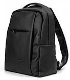 Мужской классический черный рюкзак из матовой эко-кожи повседневный, деловой, офисный, фото 8