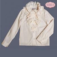 Нарядная блузка с воротником жабо для девочки 1055-1, ТМ MONE (ТМ Моне) 146 (11 лет) р. Молочный
