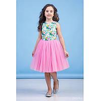 Нарядное платье для девочки, розовое (38-8032-3), Зиронька 140 (10 лет) р. Розовый