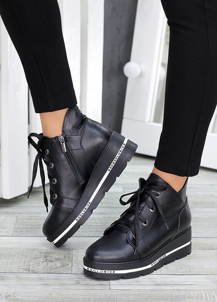 Ботинки на платформе черная кожа 7510-28