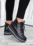 Ботинки на платформе черная кожа 7510-28, фото 2